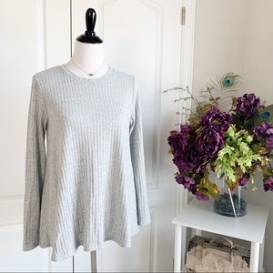 Awake Ribbed Long Sleeve Flowy Sweater Top